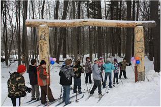 Group cross countrying skiing