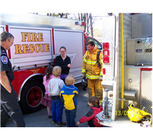 Children learning about fire safety