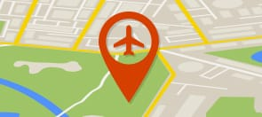 Graphic of map with pin for airport