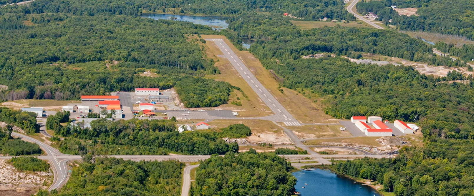 aerial of airport landing strip